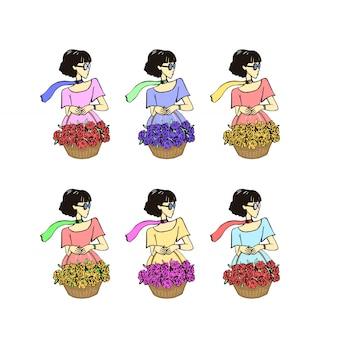 La niña está pintada a mano con una cesta de flores.
