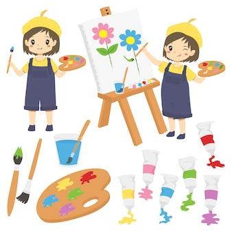 Niña pintando flores y suministros de pintura, colección de vectores