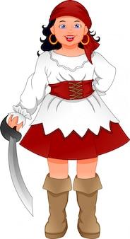 Niña pirata de dibujos animados