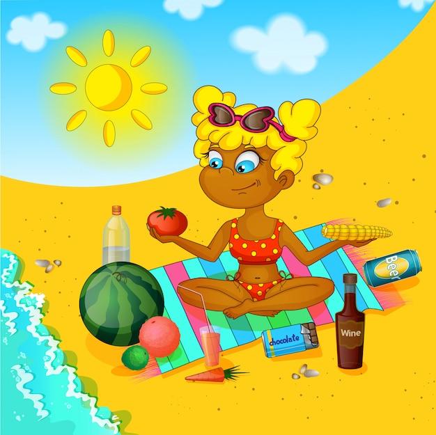 La niña en la playa.