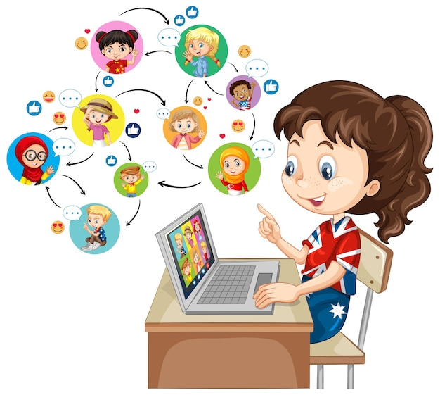 Una niña con un portátil para comunicarse por videoconferencia con amigos sobre fondo blanco.