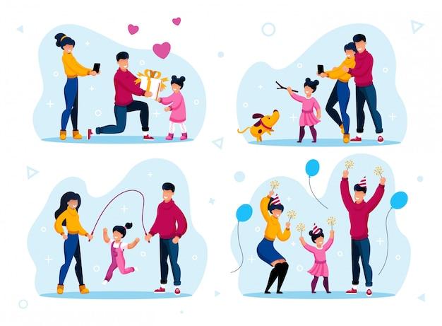 Niña preescolar feliz infancia activa