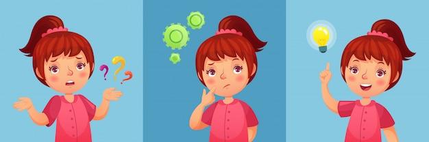 Niña preocupada el niño hace preguntas, confunde y encuentra preguntas respuestas. dibujos animados de niña pensativa