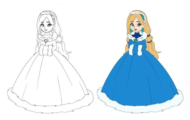 Niña princesa en vestido de invierno, aislado