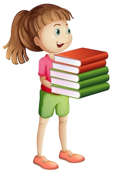 Niña, proceso de llevar, muchos libros