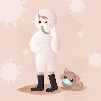 La niña protegió el coronavirus con un traje de ppe completo y usó la máscara para su gato.