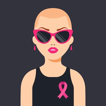 Una niña que venció al cáncer de mama. cinta rosa en apoyo de las mujeres