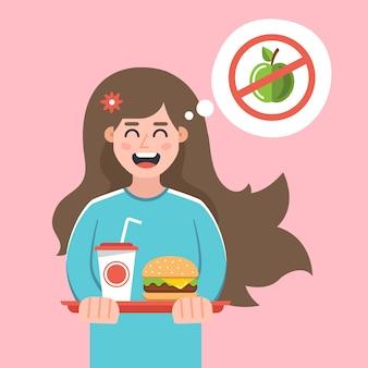 La niña rechazó una dieta y se compró una comida rápida. estilo de vida dañino ilustración de personaje plano