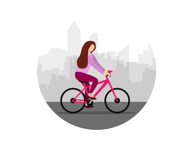 Una niña recorre la ciudad en bicicleta. mujer en una bicicleta. estilo plano ilustración.