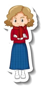 Una niña con ropa de invierno pegatina de personaje de dibujos animados