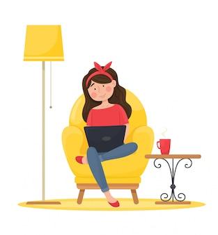 La niña en una silla cómoda trabaja en la computadora. trabajo remoto. ilustración.