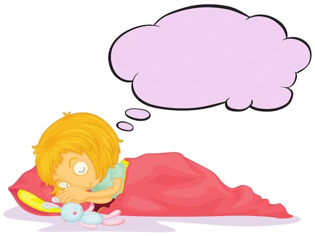 Una niña soñando con un rótulo vacío