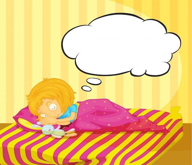 Una niña soñando