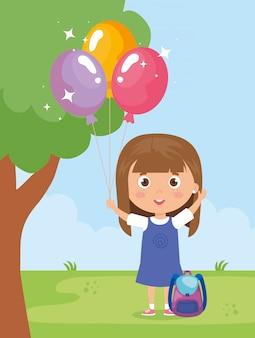 Niña sonriente con globo de helio en la ilustración de la mano