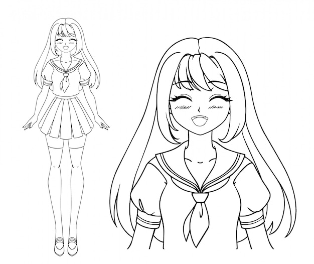 Niña sonriente manga con los ojos cerrados y dos coletas vistiendo uniforme escolar japonés. dibujado a mano ilustración vectorial. aislado.