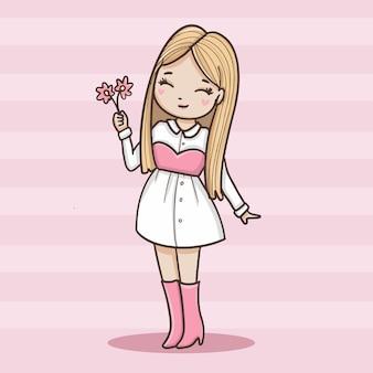 Niña sosteniendo una flor
