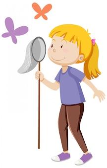 Una niña sosteniendo insectos atrapando en pie posando con algunos dibujos animados de mariposas aisladas