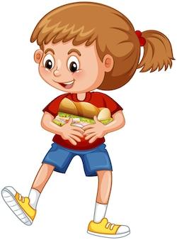 Una niña sosteniendo el personaje de dibujos animados de alimentos aislado sobre fondo blanco.