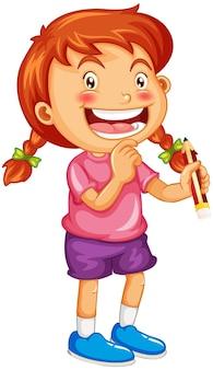 Una niña sosteniendo un personaje de dibujos animados de lápiz aislado sobre fondo blanco.
