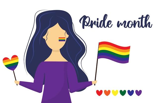 La niña sostiene la bandera lgbt en sus manos postal para el mes del orgullo