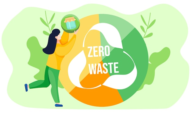 Una niña sostiene una pelota con la imagen de un frasco de vidrio y la levanta. globo sectorizado de color verde amarillo con logo de reciclaje y letras blancas sobre fondo verde claro. concepto de desperdicio cero. medio ambiente