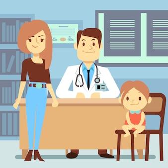 Niña y su madre visitando al pediatra - concepto de medicina infantil