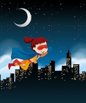 Una niña superhéroe volando en el cielo