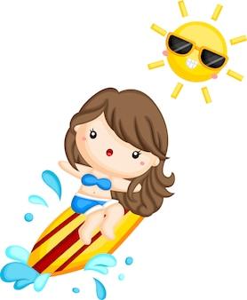 Una niña surfeando la ola en un día soleado