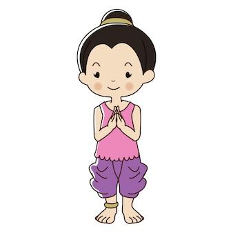 Niña tailandesa en traje tradicional.