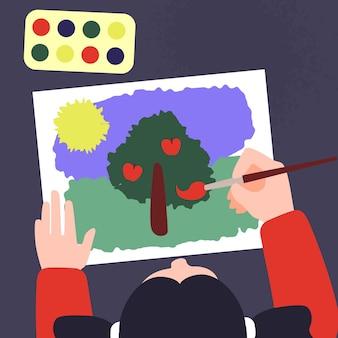 Niña, en, taller, clase, dibujo