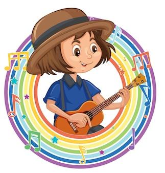 Una niña tocando la guitarra en el marco redondo del arco iris con símbolos de melodía