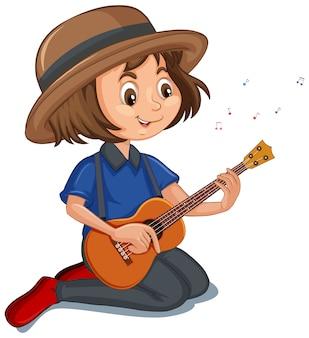 Niña, tocar la guitarra