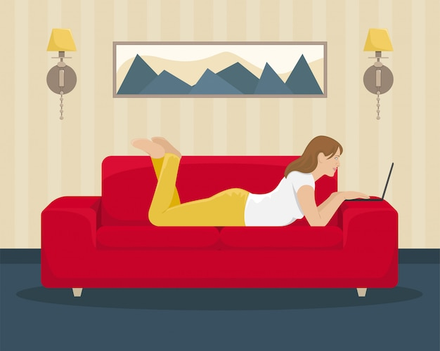 La niña trabaja en la computadora portátil acostada en el sofá. oficina en casa. ilustración.