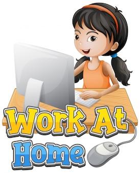 Una niña trabajando en casa