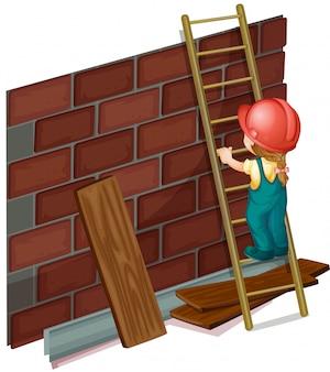 Niña trabajando en el sitio de construcción