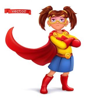 Niña en traje de superhéroe con abrigos rojos. personaje cómico, ilustración