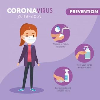Niña usando mascarilla con prevención de campaña 2019 ncov