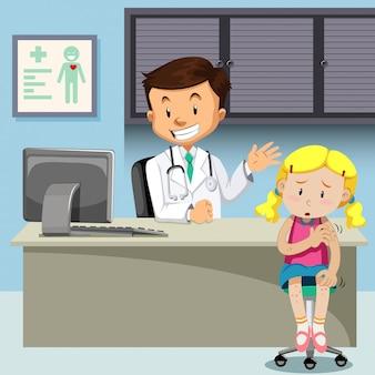 Una niña con varicela conoce al médico.