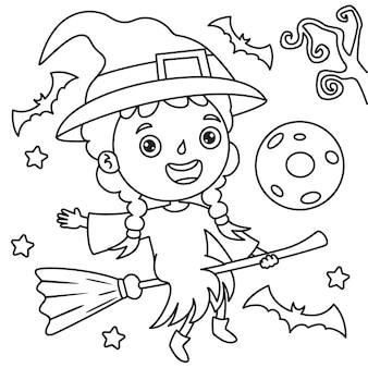 Niña vestida como una bruja volando en una escoba, dibujo de arte lineal para niños, página para colorear