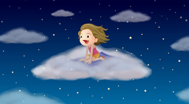 Una niña volando sobre estera