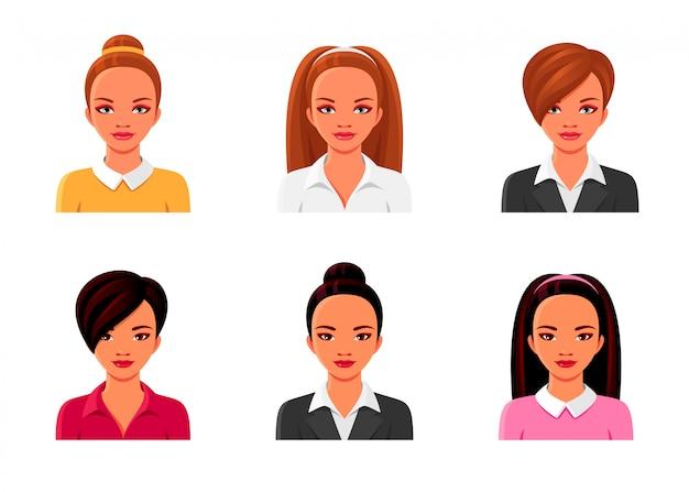 Niñas asiáticas y europeas en trajes de negocios. conjunto de avatares femeninos. ilustraciones aisladas de mujeres con varios peinados y ropa