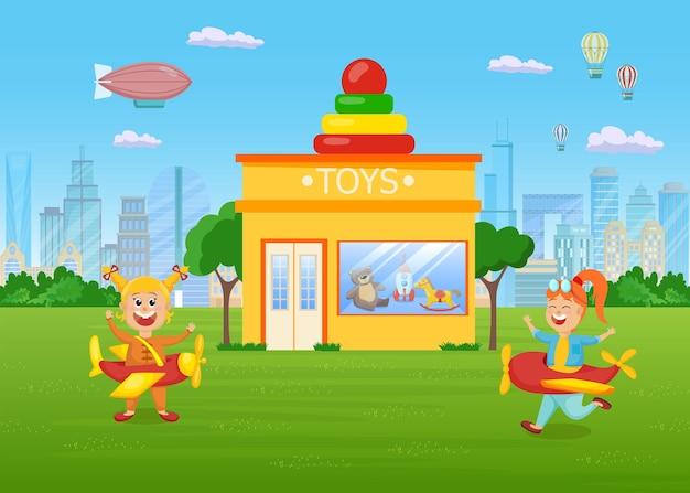 Niñas felices divirtiéndose en el césped frente a la tienda de juguetes. niños de dibujos animados jugando juntos en helicópteros disfraces ilustración plana