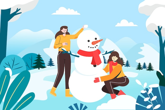 Niñas haciendo muñecos de nieve en la nieve fría del invierno