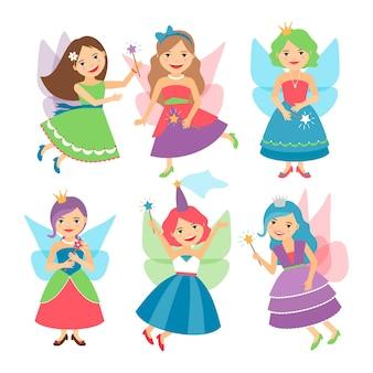 Niñas de hadas con alas y vestidos de fiesta.