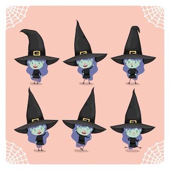 Niñas lindas con disfraces de brujas