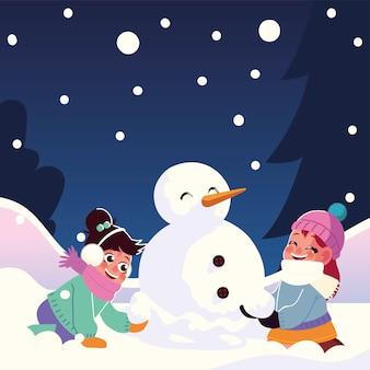 Niñas lindas con muñeco de nieve jugando ilustración de vector de nieve que cae