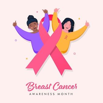 Niñas mostrando los pulgares para arriba con la cinta rosada para el concepto del mes de concientización sobre el cáncer de mama.