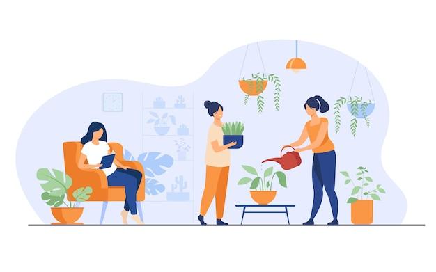 Niñas sonrientes en invernadero que cultivan plantas en macetas aisladas ilustración vectorial plana. personajes de dibujos animados que cuidan plantas de interior en el jardín de su casa.