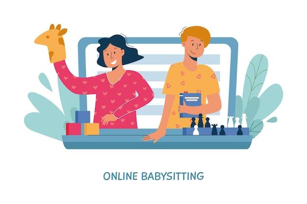 Niñera virtual, servicio de niñera en línea, concepto de enseñanza remota.