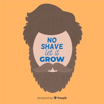 Ningún afeitado deja crecer el diseño plano de movember